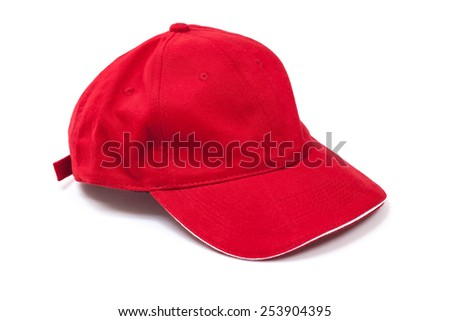 Plain red baseball cap isolated on a white background - stock photo