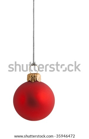 plain red christmas bauble with gold clasp and silver string