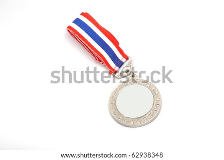 plain silver metal medal isolated. - stock photo