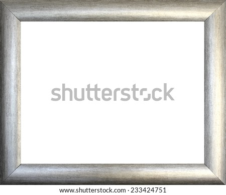 Plain silver  picture frame isolated on white background - stock photo