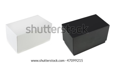 Plain simple black and white boxes with copyspace - stock photo