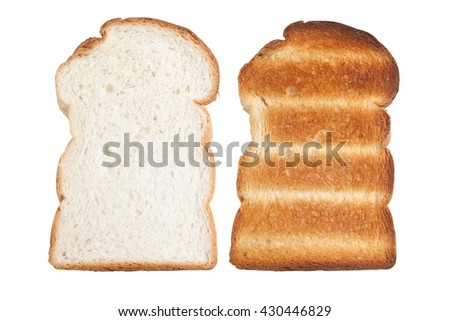 Plain sliced bread and toast isolated on white background