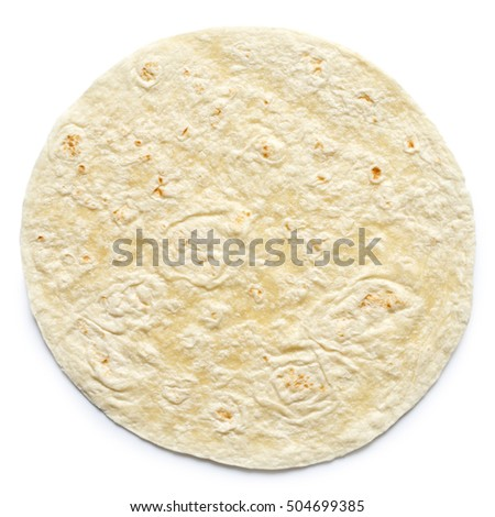 Plain tortilla wrap isolated on white from above.