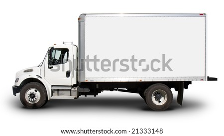 Plain white delivery truck with blank sides and blank cab, ready for custom text or logos - stock photo