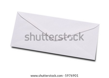 Plain white envelope isolated over white with a clipping path - stock photo