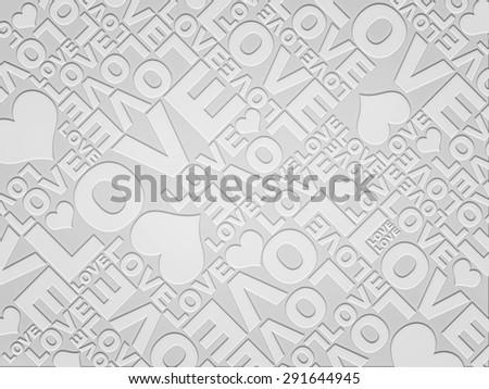 Plain white love Valentine's day typographic texture - stock photo