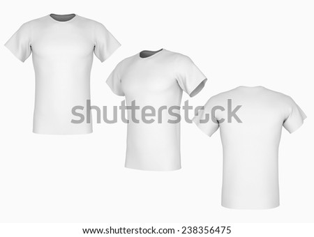 Plain white t-shirt template on isolated background - stock photo