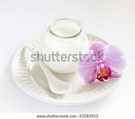 Plain yogurt in a glass jar with orchid and ceramic spoon - stock photo