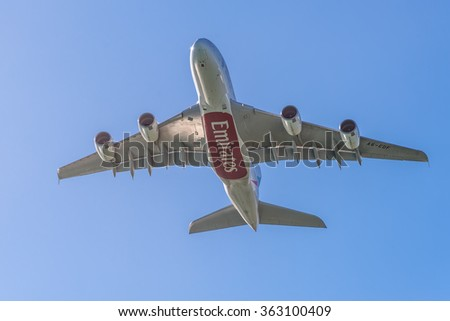 PLAISANCE, MAURITIUS - DECEMBER 27, 2015: Airbus A380 aircraft of Emirates takeoff from the Sir Seewoosagur Ramgoolam Int Airport, Plaisance, Mauritius. It is the world's largest passenger airliner. - stock photo