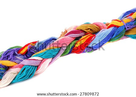 Plait of colour cotton threads for embroidery and needlework.