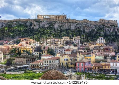 Plaka area and Acropolis in Athens,Greece - stock photo