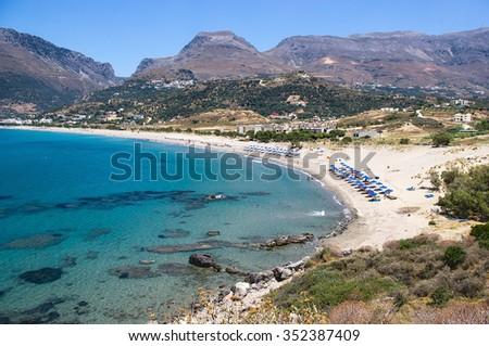 Plakias beach. Crete island, Greece.  Plakias is a village on the south coast of the Greek island of Crete, in the Rethymno regional unit. - stock photo