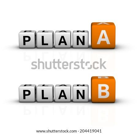 plan A and B icon (orange-white crossword puzzles series) - stock photo