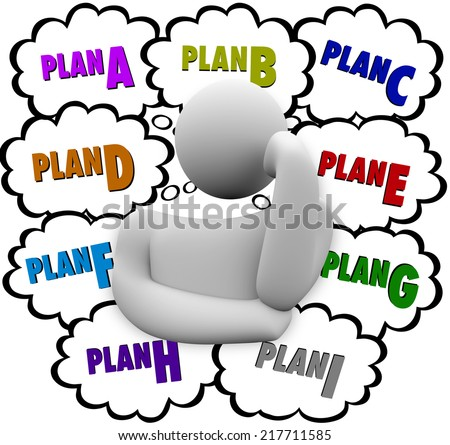 Plan A, B, C through I in thought clouds above a thinker who is revising or changing strategy to try a different approach at success - stock photo
