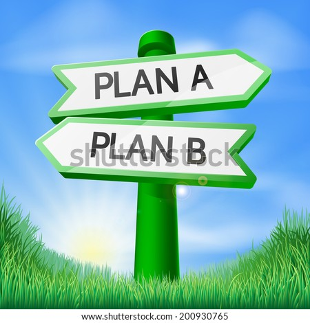 Plan A or Plan B sign concept with a choice to make - stock photo