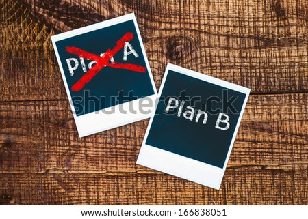 Plan A or Plan B, written on a old photo frames. The concept of choice. - stock photo
