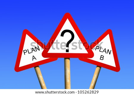 Plan A Plan B signs against a blue sky background depicting a business decision concept - stock photo
