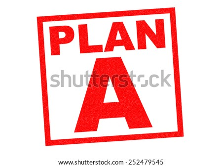 PLAN A red Rubber Stamp over a white background. - stock photo