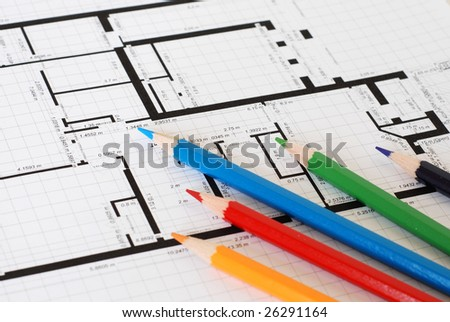 Plan and color pencils - focus on blue and green pencils - stock photo