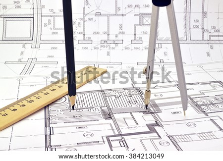 Plan and planning designed building with a pencil on the drawing