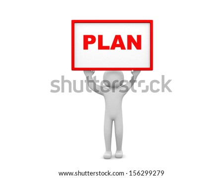 Plan concept.Isolated on white background.3d rendered - stock photo