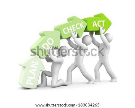 Plan Do Check Act metaphor - stock photo