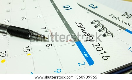 Plan for New Year 2016, Calendar of 2016 with Pen on Office Desk, Selective Focus
