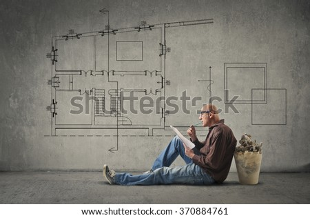 Plan for the new house - stock photo