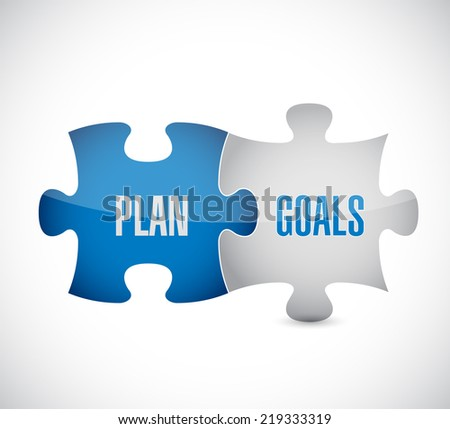 plan goals puzzle pieces illustration design over a white background - stock photo
