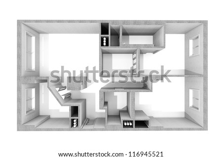plan in the apartment, apartment, without furnish, only concrete walls - stock photo