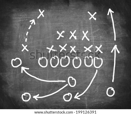 Plan of a football game on a blackboard. - stock photo