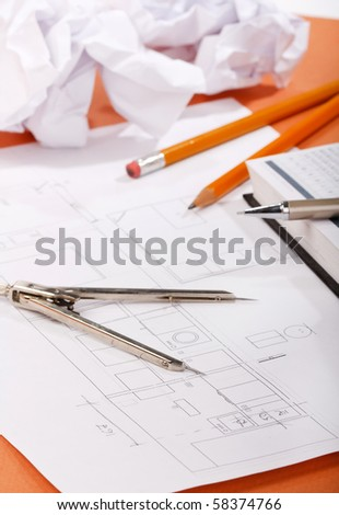 Plan of a house - stock photo