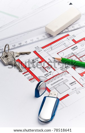 plan of a house with an usb stick