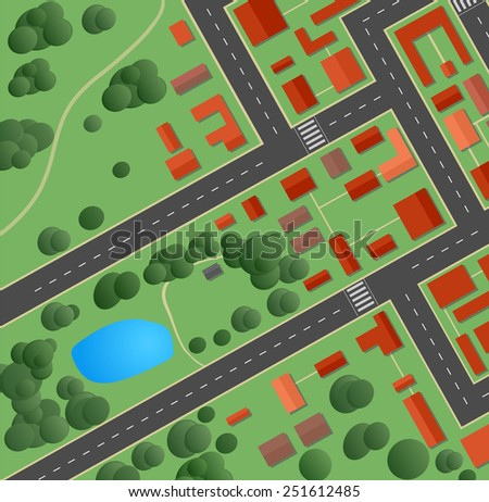 Plan of the city with streets and houses - stock photo
