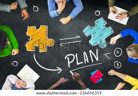 Plan Planning Connection Discussion Jigsaw Team Teamwork Concept - stock photo