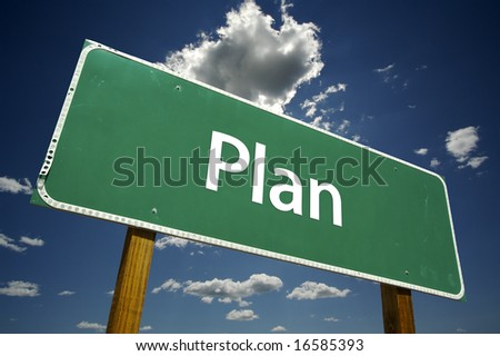 Plan Road Sign with dramatic clouds and sky. - stock photo