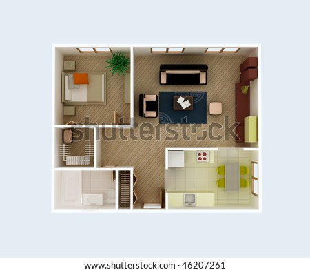 Plan view of a house. Clear 3d interior design. Kitchen, Dining, Living, Bedroom, Wolk in Closet, Hall, Bathroom. Rooms Overhead Top View. - stock photo