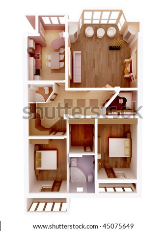 Plan view of an apartment. Clear 3d interior design. Kitchen, Dining, Living, Bedroom, Wolk in Closet, Hall, Bathroom. Rooms Overhead Top View. - stock photo