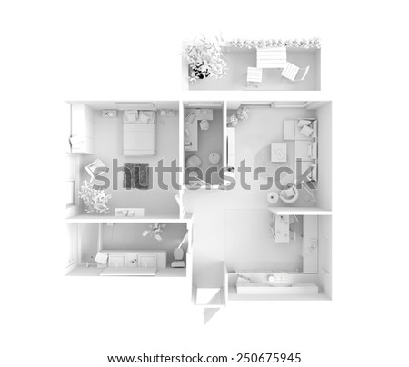 Plan view of an apartment:  Kitchen, Dining, Living, Bedroom, Hall, Bathroom. - stock photo