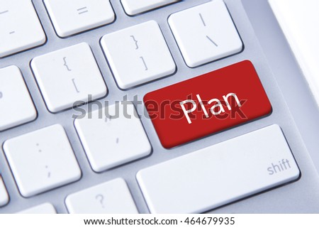 Plan word in red keyboard buttons