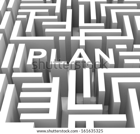 Plan Word Shows Guidance Strategy Or Business Planning - stock photo