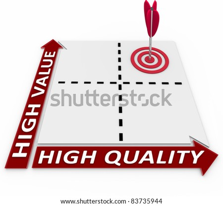 Plan your product and processes by aiming for both high quality and high value to set your goods and services apart from your competition in the marketplace - stock photo