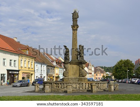 PLANA, CZECH REPUBLIC - AUGUST 24, 2015: Liberty Square. Plana, or Plana near Marianske Lazne is town in the Tachov District, Plzen Region. It is a historical town situated on the ancient trade route