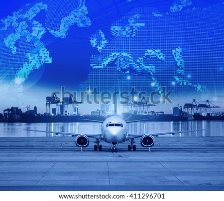 plane and logistic industry - stock photo