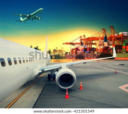 plane and logistic ship port  - stock photo