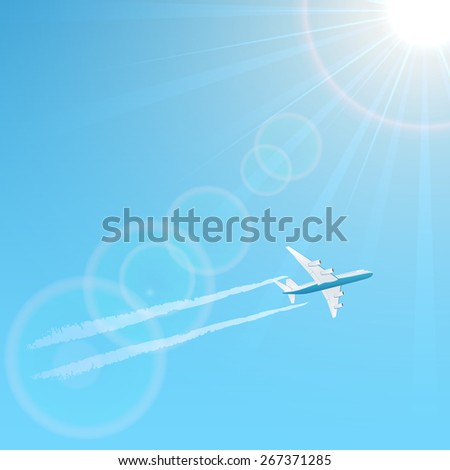 Plane and vapor trail on blue sky background, illustration. - stock photo
