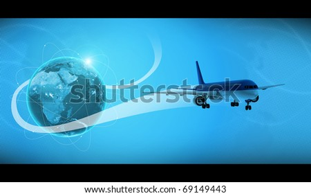 plane around earth - stock photo