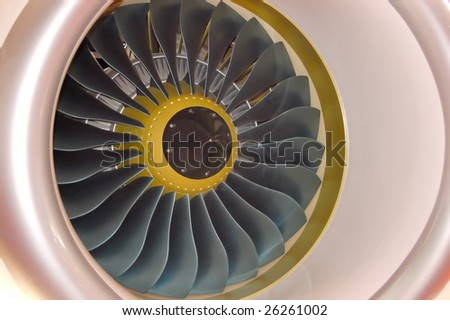 Plane engine appeared in an exhibition - stock photo