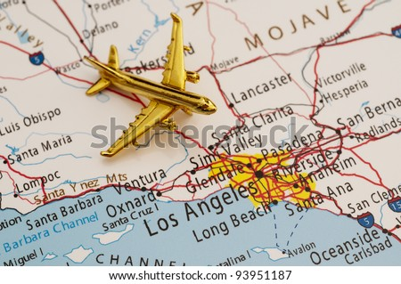Plane Going to Los Angeles, Map is Copyright Free Off a Government Website - nationalatlas.gov - stock photo