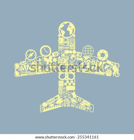 plane icon - stock photo